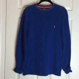 Polo Waffle Knit Long Sleeve Shirt